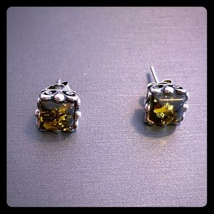 Sterling silver and green amber earrings